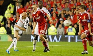 Andy Johnson scores his first and Fulham's second goal against Wisla Krakow