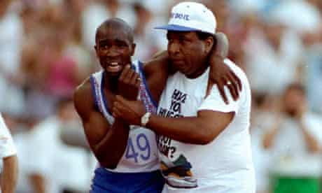 Derek Redmond and his father at Barcelona 1992
