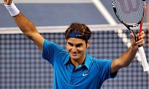 Roger Federer celebrates winning the Swiss Indoors