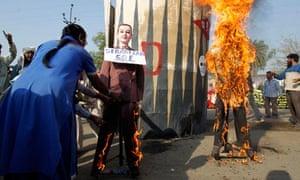 Sebastian Coe effigy is burned