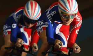 Danielle King leads laura Trott in the GB team in qualifying for the Women's Team Pursuit
