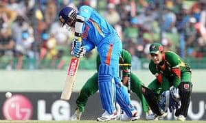 Bangladesh v India, Virender Sehwag plays a shot