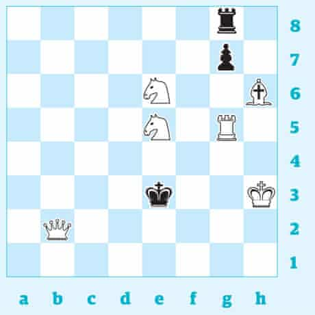 White mates in two moves, against any black defence. can chess?