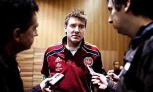 Nicklas Bendtner speaks to journalists ahead of Denmark's friendly against England