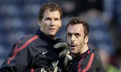 Arsenal goalkeepers Jens Lehmann and Manuel Almunia