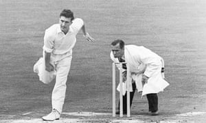 Fred Titmus in action for Middlesex in August 1954