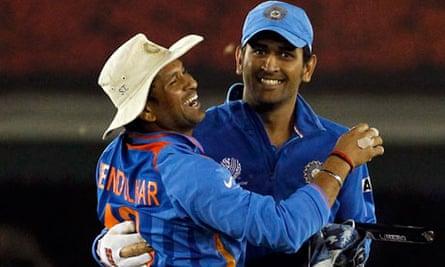 India's Sachin Tendulkar and Mahendra Singh Dhoni
