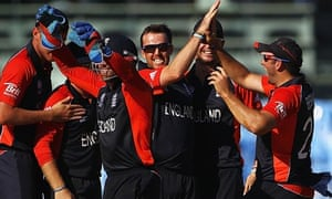 England's Graeme Swann celebrates a South Africa wicket at the World Cup