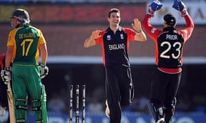 James Anderson celebrates claiming hte wicket of AB de Villiers