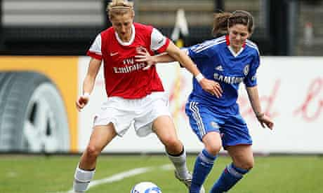 Ellen White, left, battles for possession with Danni Bird during Arsenal's win over Chelsea