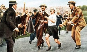 Pietri Dorando breaks the tape at the 1908 marathon ... only to be later disqualified