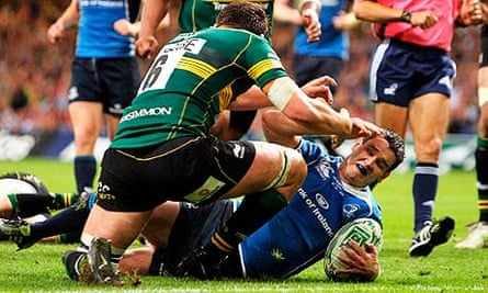 Leinster's Jonny Sexton crosses for his second try during the Heineken Cup final against Northampton