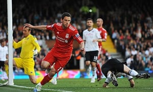 Maxi Rodríguez celebrates scoring his and Liverpool's second goal against Fulham