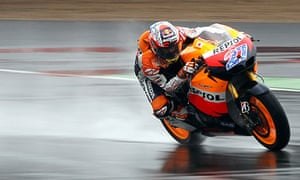 Casey Stoner rides during the British Grand Prix at Silverstone