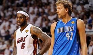 Miami Heat forward LeBron James and Dallas Mavericks forward Dirk Nowitzki