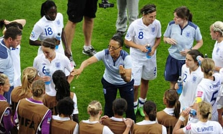 England's coach Hope Powell, centre, confers with her players before the penalties defeat to France