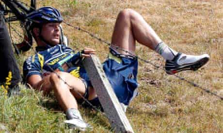 Johnny Hoogerland was sent into barbed wire during the ninth stage of the Tour de France