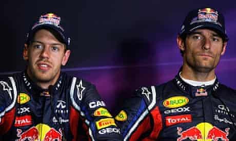 Mark Webber, right, ignored instructions to maintain a gap to his team-mate Sebastian Vettel