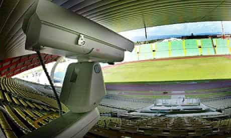 A goal-line camera at the Friuli stadium in Udine, Italy