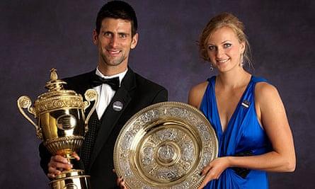 Novak Djokovic and Petra Kvitova pose for the official Wimbledon champions' portrait