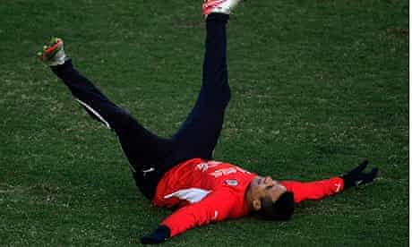Chile's national soccer player Sanchez attends a training session at Mendoza city
