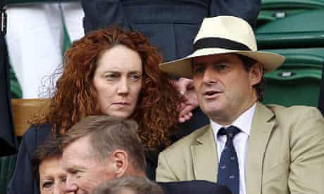 Charlie and Rebekah Brooks on Centre Court at Wimbledon