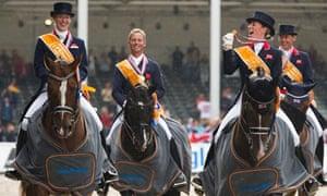 The British dressage team celebrate their European gold