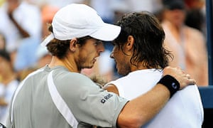 Andy Murray, left, with Rafael Nadal after beating him in the 2008 US Open semi-final