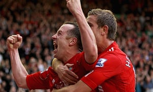 Jordan Henderson celebrates with Charlie Adam after he scored Liverpool's third goal against Bolton