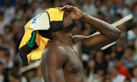 Usain Bolt after being disqualified
