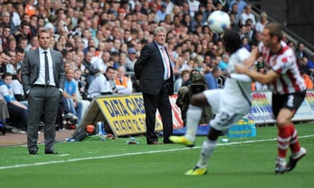 Steve Bruce and Brendan Rogers watch their side struggle to score