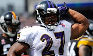 Baltimore Ravens running back Ray Rice reacts after scoring a touchdown a3a37a491