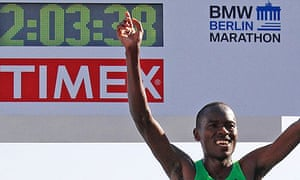 Patrick Makau crosses the finish line to win the 38th Berlin Marathon