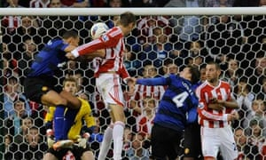 Stoke City's Peter Crouch scores against Manchester United