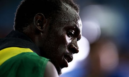 Usain Bolt after his 200m victory in Daegu