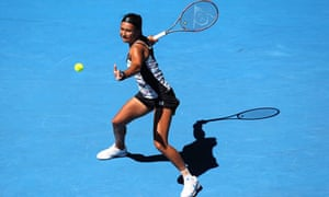 Heather Watson in action during the first round of the Australian Open in Melbourne.