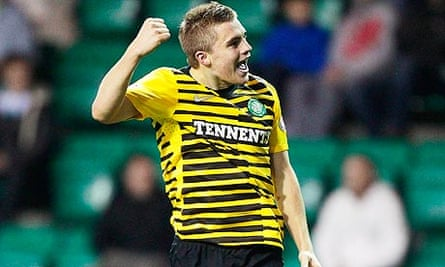 Celtic's James Forrest celebrates scoring