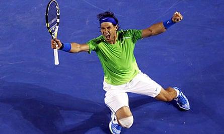 Rafael Nadal celebrates
