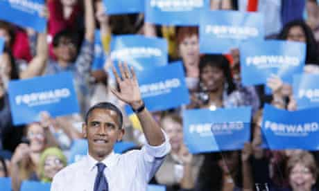 Barack Obama speaks at a campaign rally in Fairfax, Virginia
