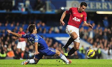 Robin van Persie in action against Chelsea