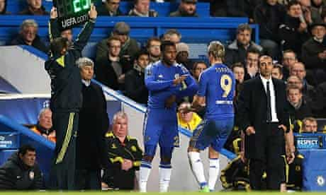 Daniel Sturridge comes on as a substitute for Chelsea