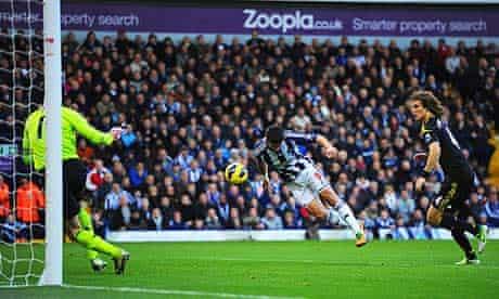 West Bromwich Albion's Shane Long scores