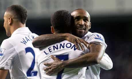 Jermain Defoe is embraced by Aaron Lennon after scoring