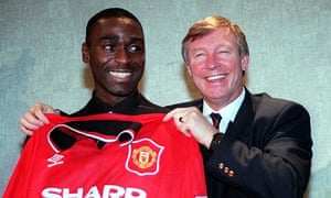Andy Cole and Alex Ferguson smile