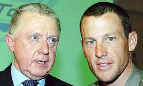 The former UCI president Hein Verbruggen with the now disgraced Lance Armstrong in Paris in 2005