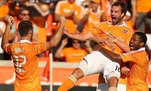 Adam Moffat of the Houston Dynamo celebrates his goal against Sporting Kansas City