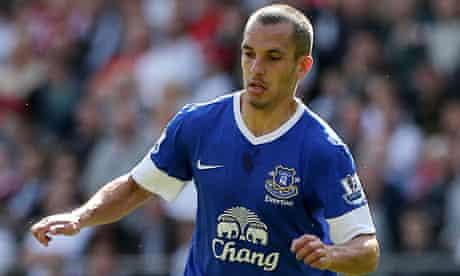 Leon Osman in action for Everton v Swansea