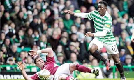 Celtic's Victor Wanyama and Arbroath's Derek Holmes