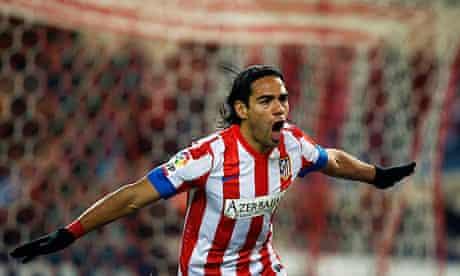 Radamel Falcao celebrates one of his five goals for Atlético Madrid against Deportivo de La Coruña