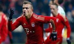 Bayern Munich's Xherdan Shaqiri celebrates